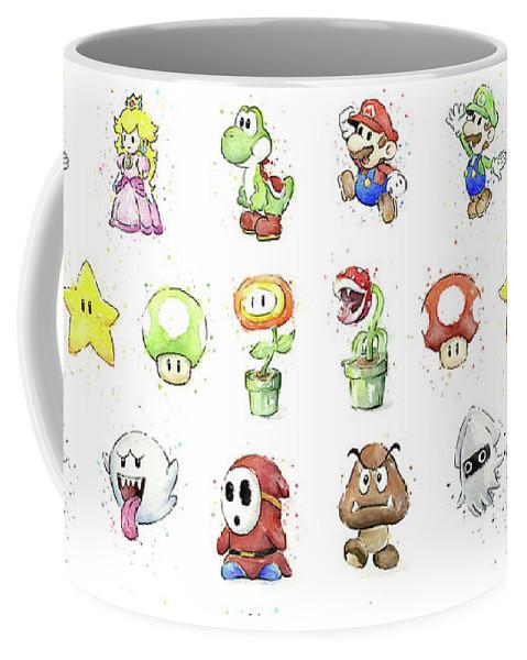 Mario Coffee Mug featuring the painting Mario Characters in Watercolor by Olga Shvartsur