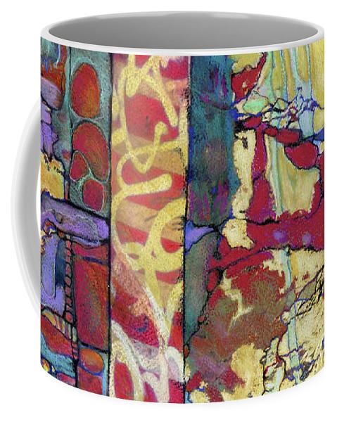Abstract Coffee Mug featuring the painting Q-train, Flatbush by Roxanne Bohana