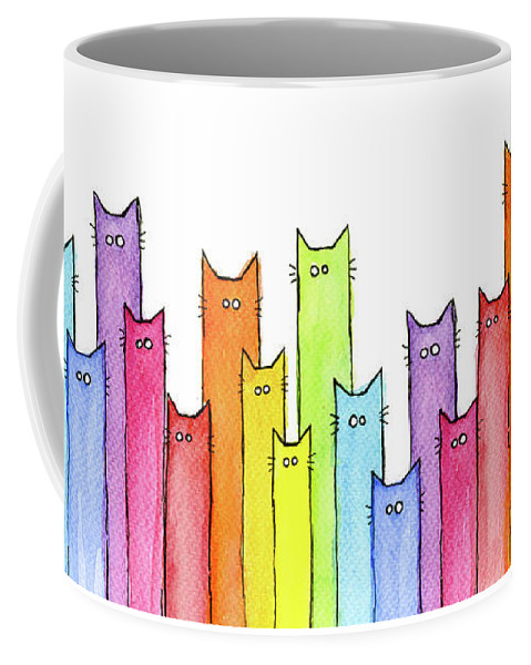 Cats Coffee Mug featuring the painting Cat Rainbow Watercolor Pattern by Olga Shvartsur