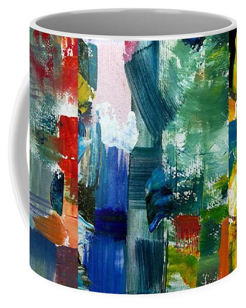Abstract Collage Coffee Mug featuring the painting Abstract Color Relationships Ll by Michelle Calkins