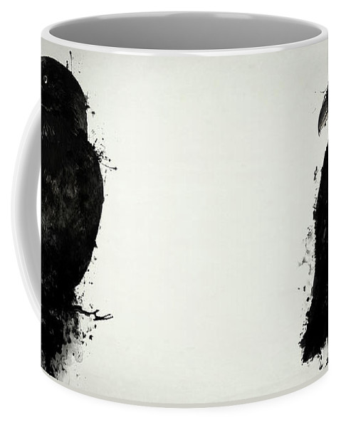 Raven Coffee Mug featuring the mixed media The Raven by Nicklas Gustafsson