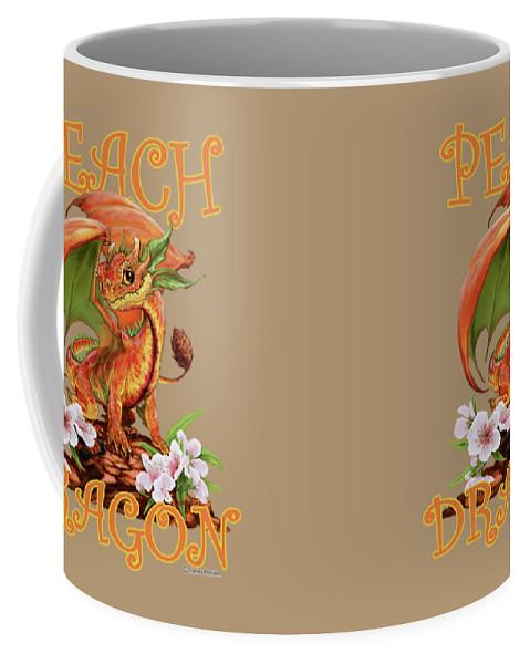 Peach Coffee Mug featuring the digital art Peach Dragon by Stanley Morrison