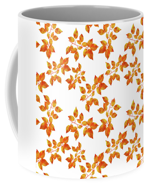 Pressed Leaf Coffee Mug featuring the mixed media Black Cherry Pressed Leaf Art by Christina Rollo