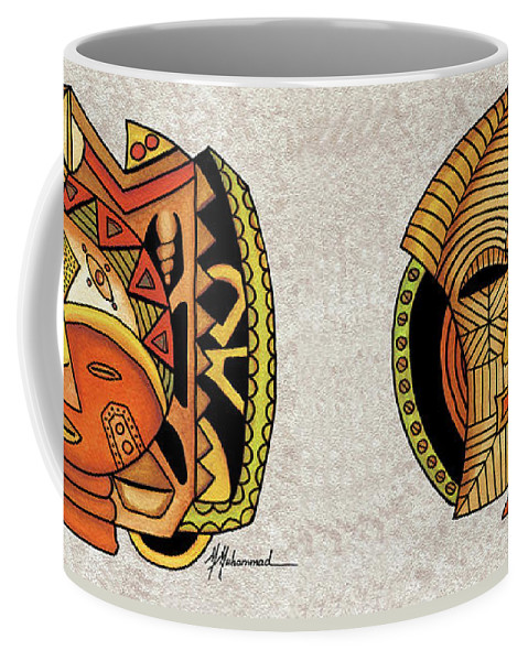 African Coffee Mug featuring the painting Maruvian Masks 1 by Marcella Muhammad
