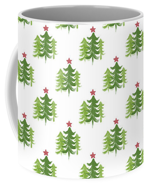 Winter Coffee Mug featuring the painting Winter Holiday Trees 2- Art by Linda Woods by Linda Woods