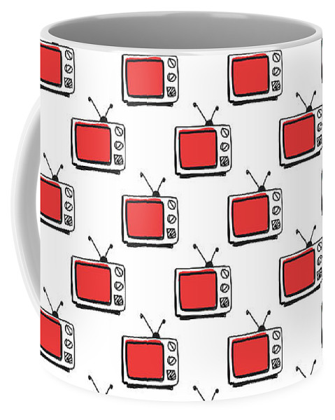 Tv Coffee Mug featuring the digital art Binge Watching- Art By Linda Woods by Linda Woods