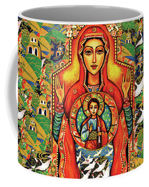 Mother And Child Coffee Mug featuring the painting Our Lady Of The Sign by Eva Campbell