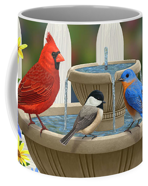 Birds Coffee Mug featuring the painting The Colors Of Spring - Bird Fountain In Flower Garden by Crista Forest