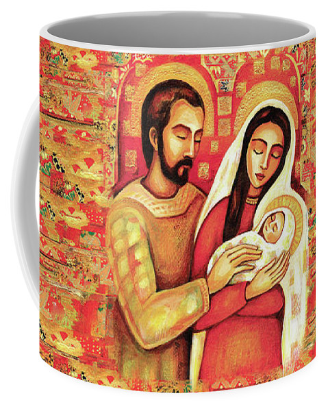 Holy Family Coffee Mug featuring the painting Holy Family by Eva Campbell