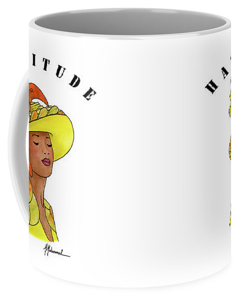 Lady Coffee Mug featuring the painting Hattitude #120 by Marcella Muhammad