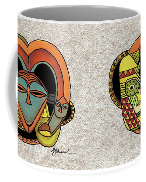 Mask Coffee Mug featuring the painting Mask 5 by Marcella Muhammad