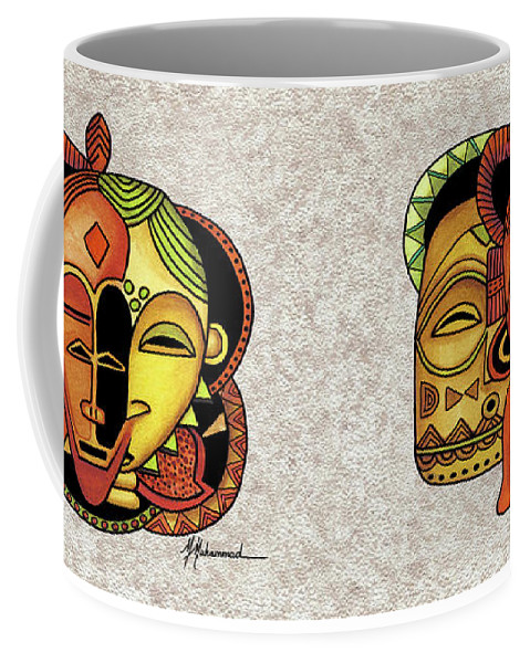 Mask Coffee Mug featuring the painting Mask 6 by Marcella Muhammad