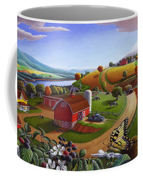 Folk Art Coffee Mug featuring the painting Folk Art Blackberry Patch Rural Country Farm Landscape Painting - Blackberries Rustic Americana by Walt Curlee