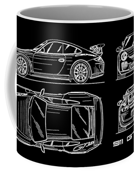 911 gt3 rs blueprint coffee mug for sale by mark rogan front right view malvernweather Choice Image