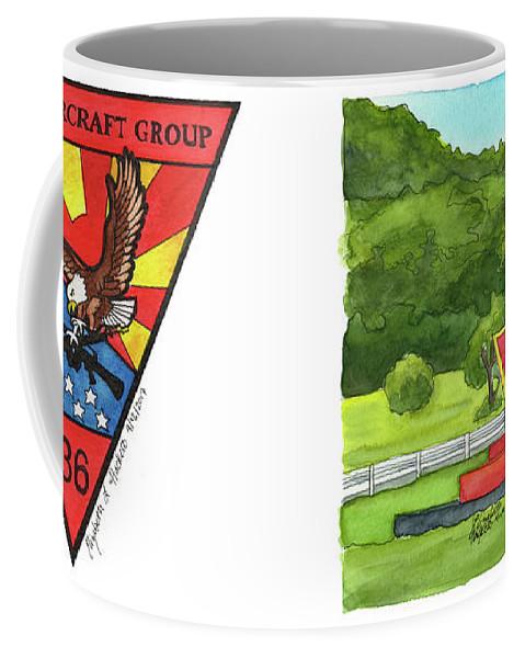 Marine Aircraft Group Coffee Mug featuring the painting Marine Aircraft Group At Mcas Futenma by Betsy Hackett