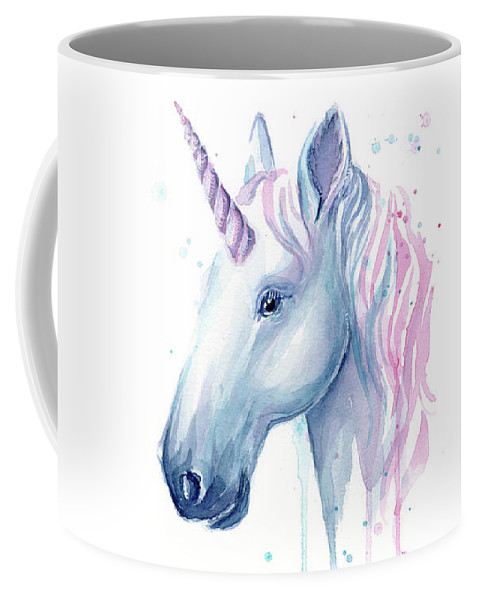 Unicorn Coffee Mug featuring the painting Cotton Candy Unicorn by Olga Shvartsur