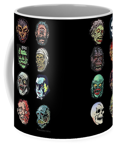 Monster Masks Coffee Mug featuring the digital art 16 Horror Movie Monsters Vintage Style Classic Horror Movies by Scott Jackson