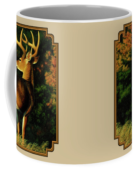 Deer Coffee Mug featuring the painting Whitetail Buck - Indecision by Crista Forest