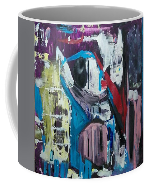 Abstract Coffee Mug featuring the painting Apparitions, Ghosts And Grottos by Denise Morgan