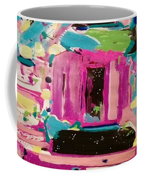 Abstract Coffee Mug featuring the painting Windows To The Stars by Denise Morgan