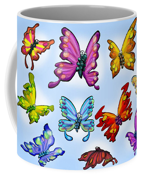 Butterfly Coffee Mug featuring the painting Butterflies by Kevin Middleton