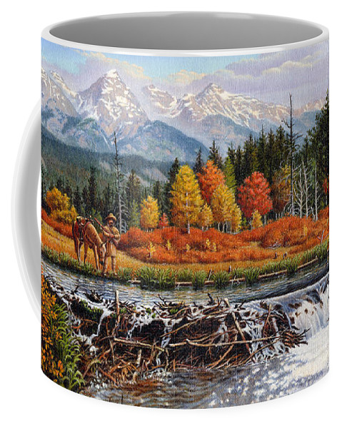 Western Mountain Landscape Coffee Mug featuring the painting Western Mountain Landscape Autumn Mountain Man Trapper Beaver Dam Frontier Americana Oil Painting by Walt Curlee