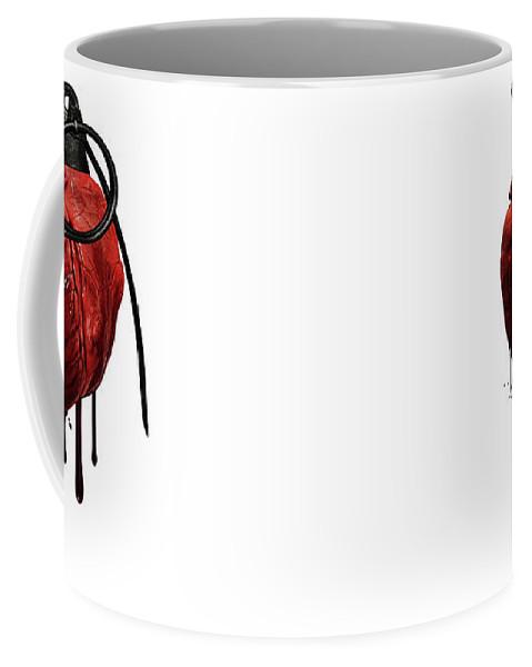 Heart Coffee Mug featuring the mixed media Heart Grenade by Nicklas Gustafsson