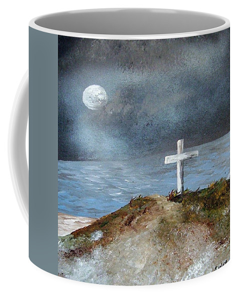 Cross Coffee Mug featuring the painting Pensacola Beach By The Light Of The Moon by Eloise Schneider