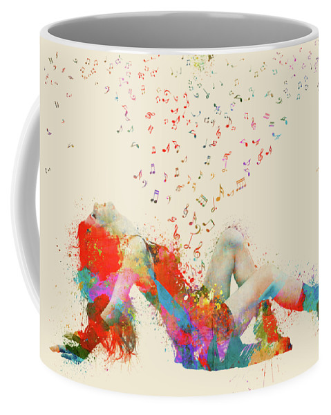 Song Coffee Mug featuring the digital art Sweet Jenny Bursting With Music by Nikki Smith