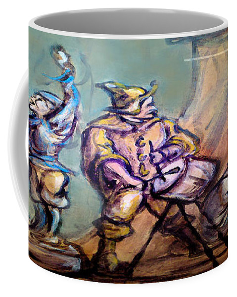 Street Performers Coffee Mug featuring the painting Gypsies Part 1 by Kevin Middleton