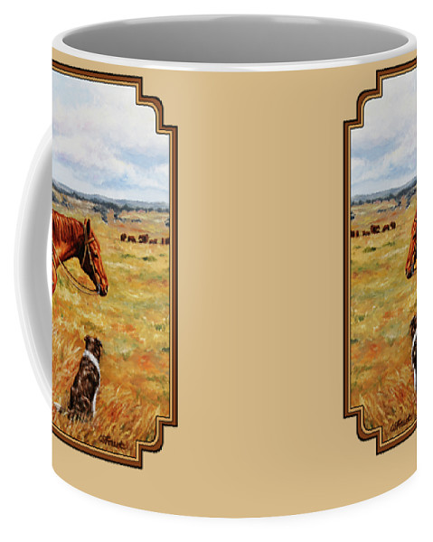 Western Coffee Mug featuring the painting Horse Painting - Waiting For Dad by Crista Forest