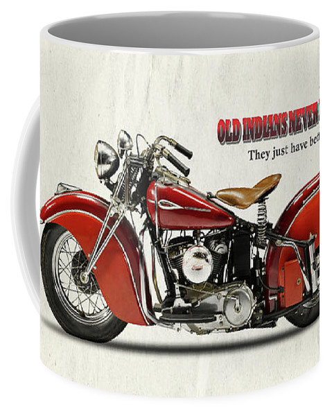 Indian Motorcycle Coffee Mug featuring the photograph Old Indians Never Die by Mark Rogan