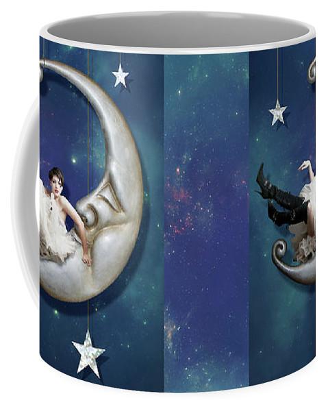 Moon Coffee Mug featuring the digital art Paper Moon by Linda Lees