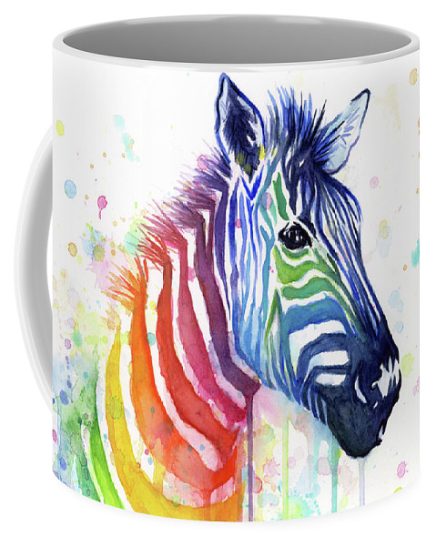 Rainbow Coffee Mug featuring the painting Rainbow Zebra - Ode to Fruit Stripes by Olga Shvartsur