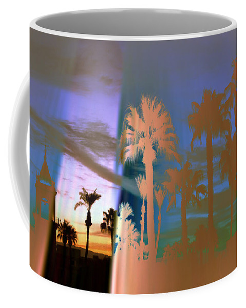 Fog. Palm Trees Coffee Mug featuring the photograph As The Fog Lifts by Irma BACKELANT GALLERIES