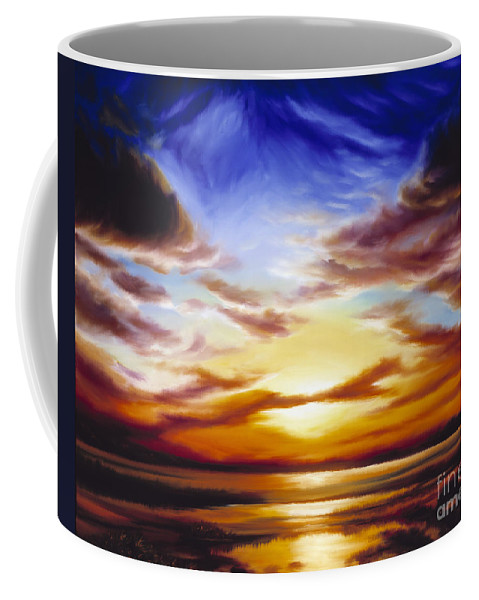 Skyscape Coffee Mug featuring the painting As The Sun Sets by James Christopher Hill
