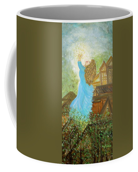 Angelic Coffee Mug featuring the painting Ascension by Sara Credito