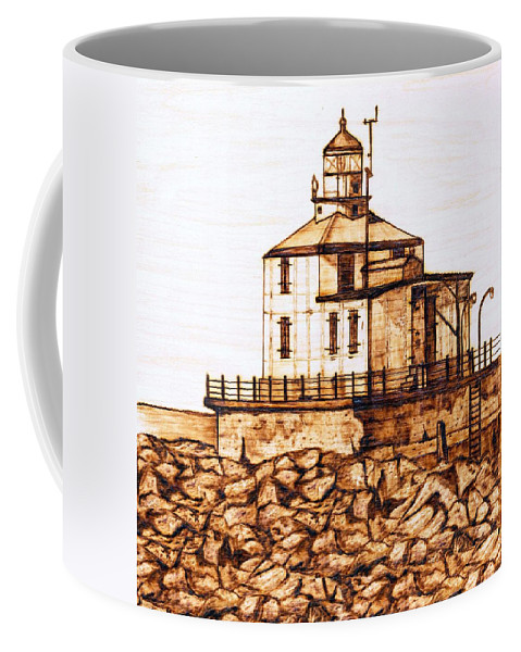 Lighthouse Coffee Mug featuring the pyrography Ashtabula Harbor by Danette Smith