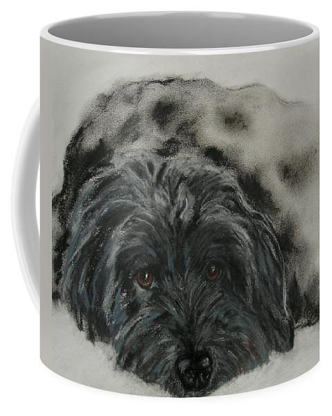 Dog Coffee Mug featuring the drawing Asia by Cori Solomon