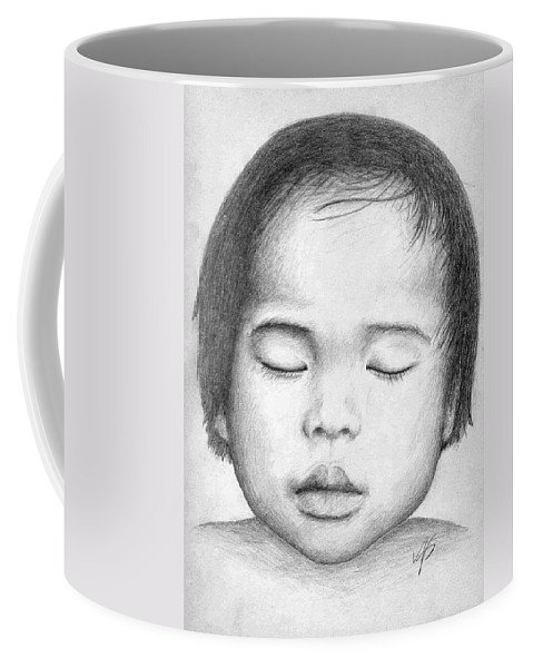 Baby Coffee Mug featuring the drawing Asian Baby by Nicole Zeug