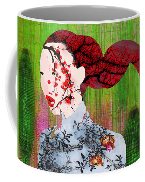 Woman Coffee Mug featuring the painting Asian Flower Woman Red by Tony Rubino