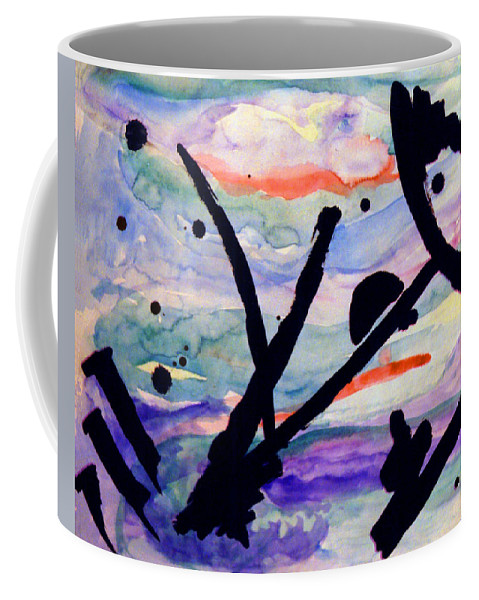 Abstract Coffee Mug featuring the painting Asian Impression by Steve Karol
