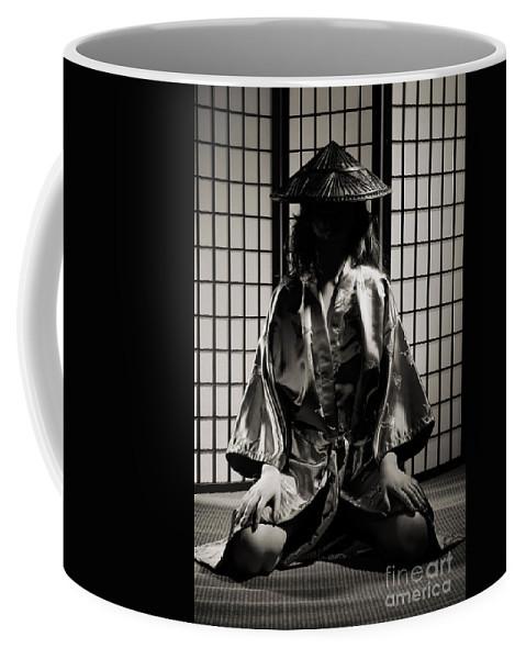 Asian Coffee Mug featuring the photograph Asian Woman In Kimono by Oleksiy Maksymenko