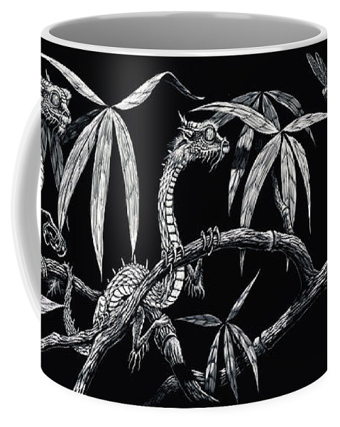 Fantasy Coffee Mug featuring the drawing Asian Wonders by Stanley Morrison
