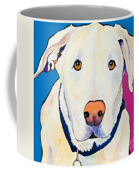 White Lab Yellow Lab Animal Paintings Golden Eyes Square Format Dogs Pets Rescued Coffee Mug featuring the painting Aslinn by Pat Saunders-White