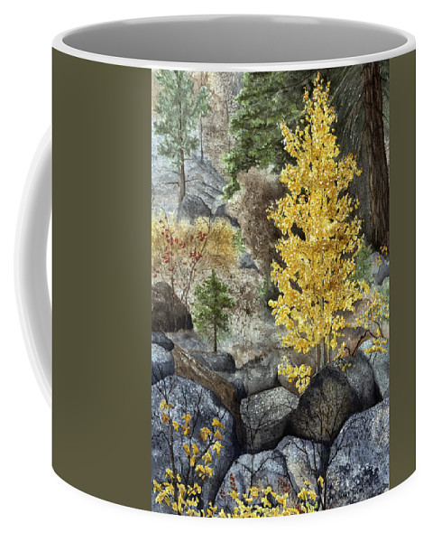 Autumn Coffee Mug featuring the painting Aspen Gold by Mary Tuomi