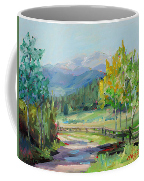 Rocky Mountains Coffee Mug featuring the painting Aspen Lane by Marie Massey