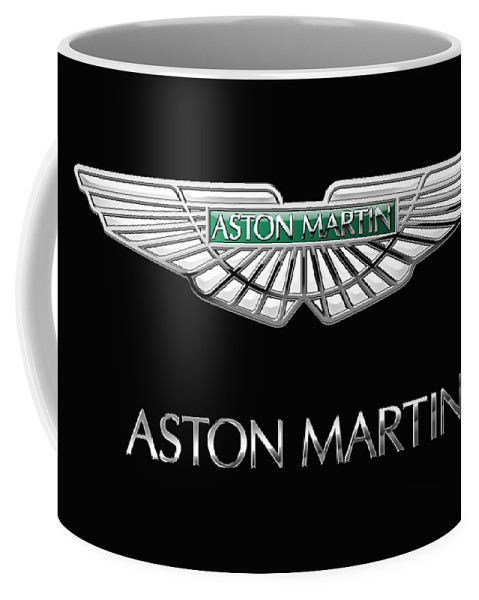 'wheels Of Fortune� Collection By Serge Averbukh Coffee Mug featuring the photograph Aston Martin 3 D Badge on Black by Serge Averbukh