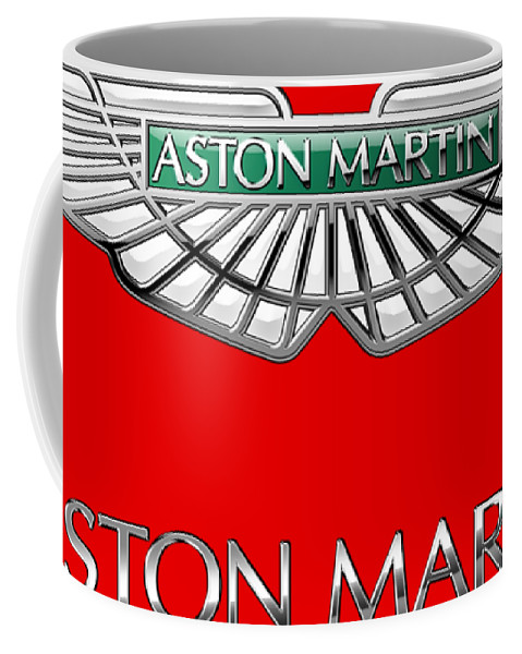 Wheels Of Fortune� Collection By Serge Averbukh Coffee Mug featuring the photograph Aston Martin - 3 D Badge On Red by Serge Averbukh