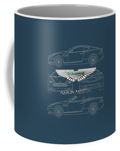 Wheels Of Fortune By Serge Averbukh Coffee Mug featuring the photograph Aston Martin 3 D Badge over Aston Martin D B 9 Blueprint by Serge Averbukh